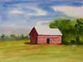 Captain Watercolor demonstrates how to paint a barn with watercolorss - A beginner landscape lesson.