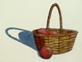 Watercolor painting of a basket filled with tomatoes.