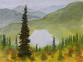 Watercolor landscape painting showing mountains lakes and trees.