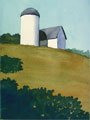 A watercolor painting of a barn and silo, illustrating blue shadows in the landscape.