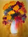 A wet in wet watercolor painting of a glass vase filled with flowers.